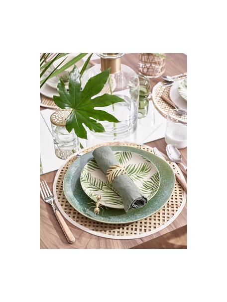 Frühstücksteller Jade mit tropischem Motiv, 4 Stück, Steingut, Beige, Grün, Ø 20 cm