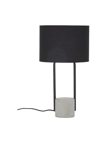 Lampada da tavolo con base in cemento Pipero, Paralume: tessuto, Base della lampada: metallo verniciato a polv, Paralume: nero Base della lampada: nero opaco, grigio Cavo: nero, Ø 28 x Alt. 51 cm