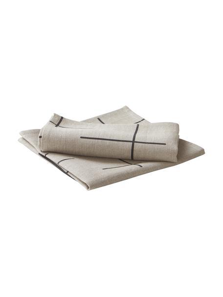 Leinen-Servietten Merrin mit Bohomuster, 2 Stück, 100% Leinen, Beige, Schwarz, 45 x 45 cm