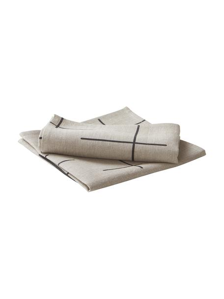 Servilletas de lino Merrin, 2uds., 100%lino, Beige, negro, An 45 x L 45 cm