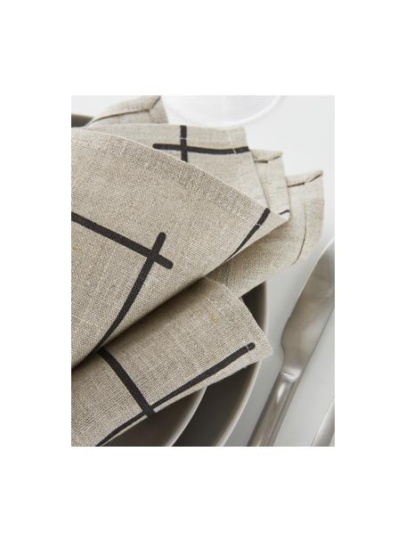 Linnen servetten Merrin met boho patroon, 2 stuks, 100% linnen, Beige, zwart, 45 x 45 cm