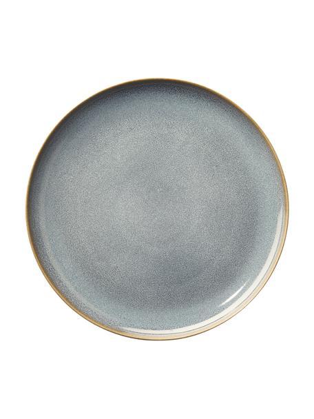 Plato llano de gres Saisons, 6uds., Gres, Azul, Ø 27 cm