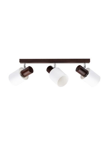 Deckenstrahler Treehouse aus Holz, Lampenschirm: Stoff, Baldachin: Buchenholz, Dunkelbraun, Weiß, 52 x 21 cm