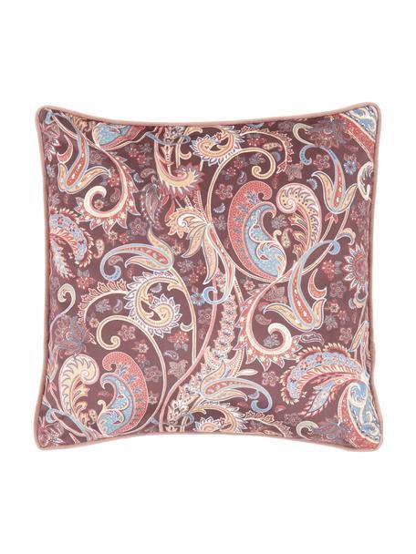 Kussenhoes Indira met paisley patroon in rozetinten, 100% polyester fluweel, Multicolour, 40 x 40 cm
