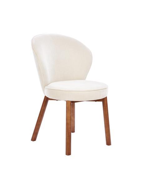 Sedia imbottita color bianco crema Serena, Rivestimento: ciniglia (92% poliestere,, Gambe: legno massiccio di frassi, Bianco, Larg. 55 x Prof. 63 cm