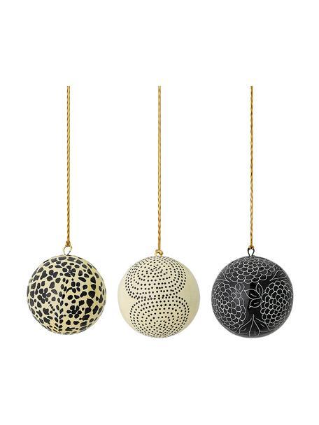 Handgemaakte kerstballenset Mech Ø8cm, 3-delig, Papiermaché, Beige, zwart, Ø 8 cm