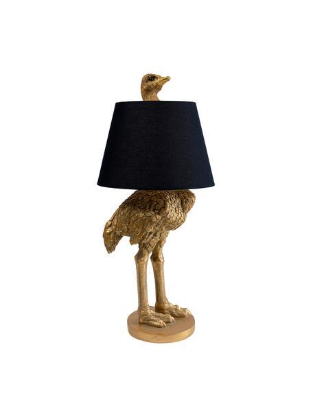 Lámpara de mesa artesanal grande Ostrich, Pantalla: algodón, cáñamo, Latón, Ø 30 x Al 69 cm