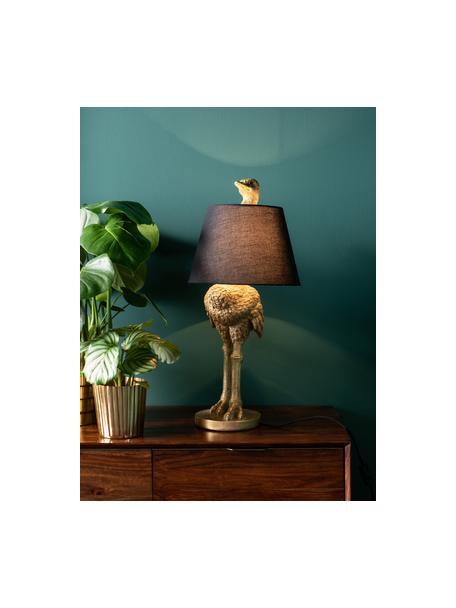 Grote handgemaakte tafellamp Ostrich, Lampvoet: polyresin, Lampenkap: katoen, hennepkleurig, Messingkleurig, Ø 30 x H 69 cm