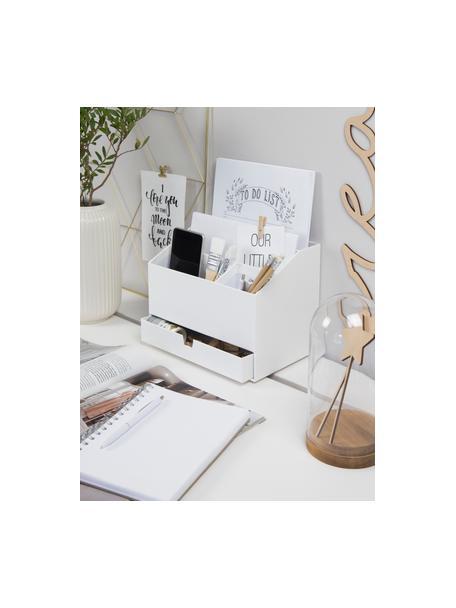 Organizador de escritorio Greta, Cartón laminado macizo, Blanco, An 24 x Al 18 cm