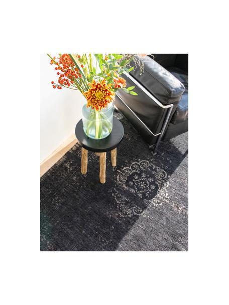Dywan szenilowy vintage Medaillon, Czarny, beżowy, S 140 x D 200 cm (Rozmiar S)