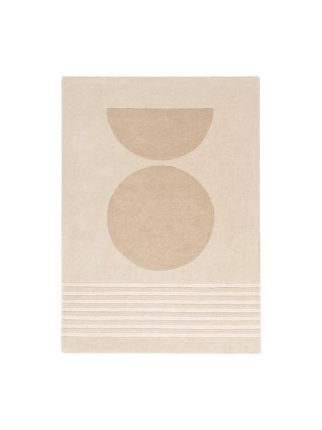 Handgetufteter Wollteppich Bent mit geometrischem Muster, Flor: 100% Wolle, Beige, Creme, B 140 x L 200 cm (Größe S)