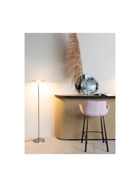 Lámpara de lectura pequeña LED regulable de vidrio Float, Pantalla: vidrio, Cable: cubierto en tela, Dorado, transparente, Ø 30 x Al 132 cm
