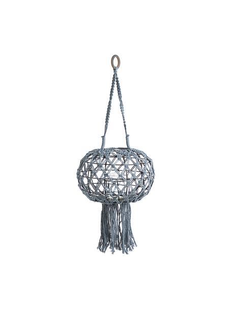 Hangende lantaarn Macrame, Frame: metaal, Grijs, Ø 31 x H 70 cm