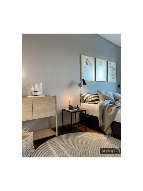 Wandlamp Cal met stekker, Lampenkap: gelakt metaal, Frame: gelakt metaal, Zwart. Lampenkap binnenzijde: wit, 27 x 27 cm