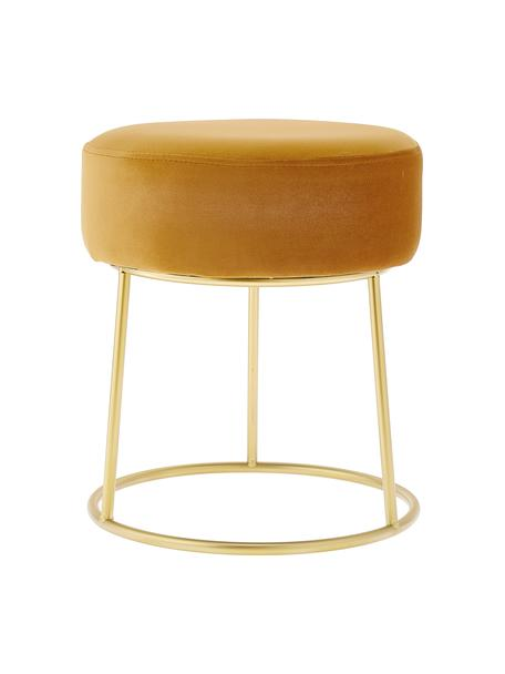 Runder Samt-Hocker Clarissa, Bezug: 100% Polyestersamt, Korpus: Mitteldichte Holzfaserpla, Bezug: GelbFuss: Goldfarben, Ø 35 x H 40 cm