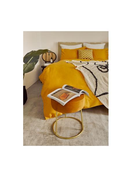 Okrągły stołek z aksamitu Clarissa, Tapicerka: 100% poliester, Korpus: płyta pilśniowa średniej , Nogi: stal szlachetna , lakiero, Tapicerka: żółty Nogi: odcienie złotego, Ø 35 x W 40 cm