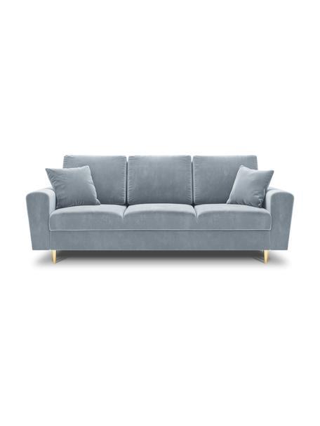 Sofa rozkładana z aksamitu z miejscem do przechowywania Moghan (3-osobowa), Tapicerka: 100% aksamit poliestrowy , Nogi: metal powlekany, Jasny niebieski, S 235 x G 100 cm