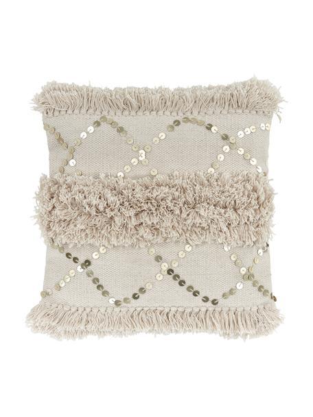 Federa arredo con ornamenti decorativi Frederieke, 100% cotone, Beige, Larg. 45 x Lung. 45 cm