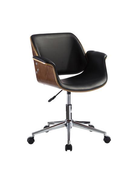 Krzesło biurowe Marbella, obrotowe, Stelaż: metal polerowany, Czarny, brązowy, odcienie srebrnego, S 59 x G 57 cm