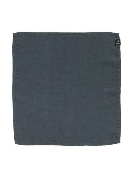 Leinen-Servietten Sunshine in Tintenblau, 4 Stück, Leinen, Dunkelgrau, 45 x 45 cm