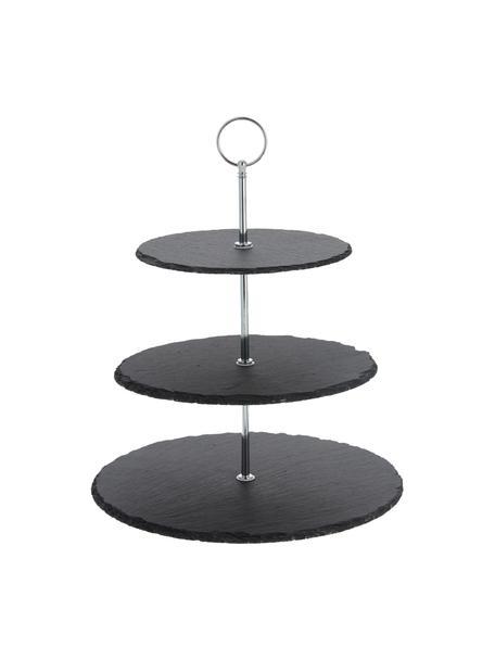 Alzatina con piani in ardesia Cooper, Ripiani: ardesia, Asta: metallo cromato, Nero, cromo, Ø 30 x Alt. 31 cm