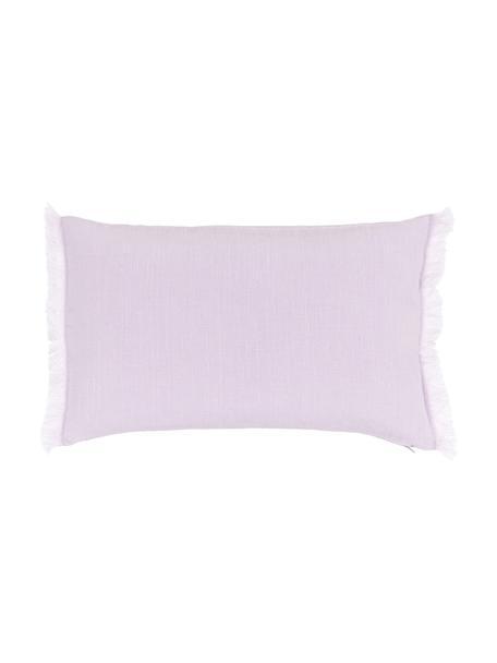 Poszewka na poduszkę z lnu z frędzlami Luana, 100% len, Lila, S 30 x D 50 cm
