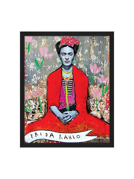 Gerahmter Digitaldruck Frida Kahlo, Bild: Digitaldruck auf Papier, , Rahmen: Holz, lackiert, Front: Plexiglas, Mehrfarbig, 43 x 53 cm
