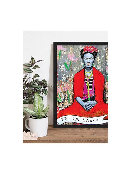 Ingelijste digitale print Frida Kahlo, Afbeelding: digitale print op papier,, Lijst: gelakt hout, Multicolour, 43 x 53 cm