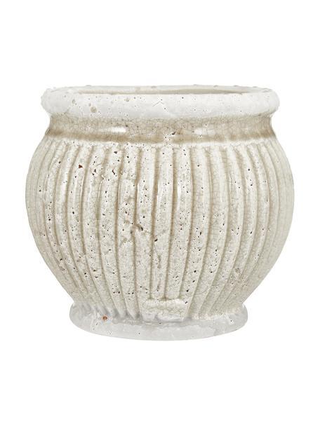 Handgefertigter Übertopf Catinia aus Keramik, Keramik, Beige, Ø 19 x H 16 cm