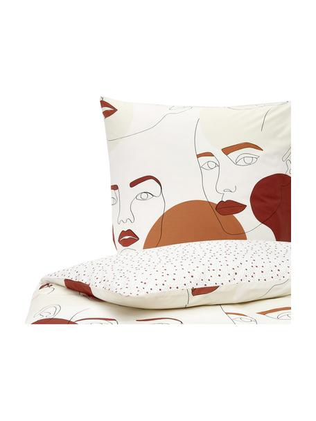 Perkal-Wendebettwäsche Femme Fatale aus Bio-Baumwolle, Webart: Perkal, Ecru, Mehrfarbig, 135 x 200 cm + 1 Kissen 80 x 80 cm