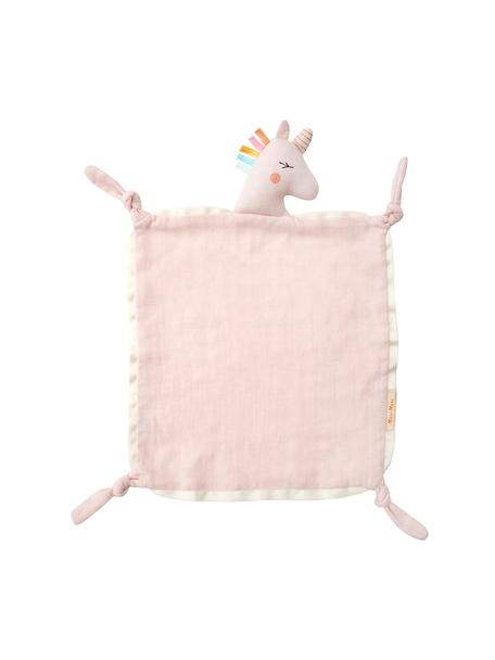 Doudou de algodón orgánico Unicorn, Borde: agodón satinado, Rosa, multicolor, An 40 x L 46 cm