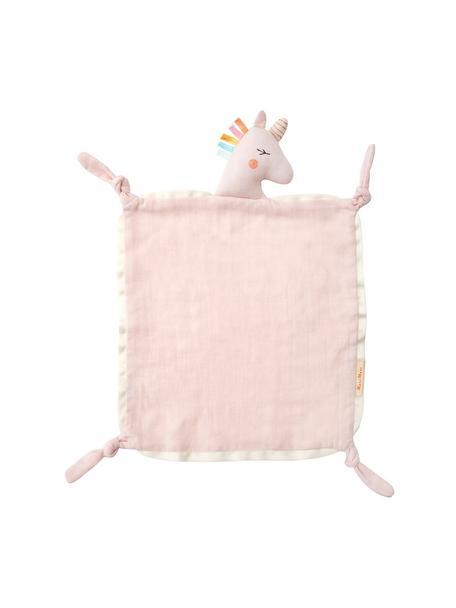 Schmusetuch Unicorn aus Bio-Baumwolle, Rand: Baumwollsatin, Rosa, Mehrfarbig, 40 x 46 cm