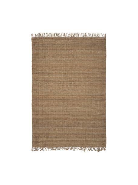Handgemaakt juten vloerkleed Cadiz met franjes, 100% jute, Jutekleurig, B 60 x L 90 cm (maat XXS)