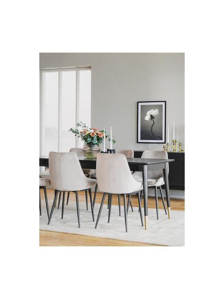 Ausziehbarer Esstisch Fenwood in Schwarz, Tischplatte: Mitteldichte Holzfaserpla, Beine: Eichenholz, massiv, gedre, Schwarz, B 180 bis 260 x T 90 cm