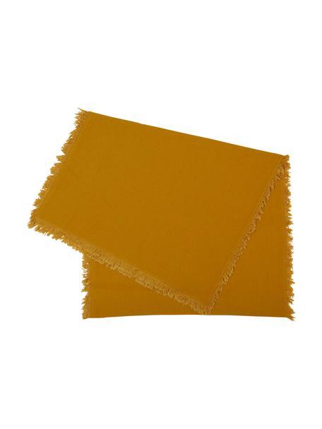 Baumwoll-Tischläufer Nalia mit Fransen, Baumwolle, Gelb, 50 x 160 cm