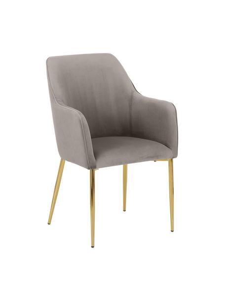 Sedia con braccioli in velluto con gambe dorate Ava, Rivestimento: velluto (100% poliestere), Gambe: metallo zincato, Velluto taupe, gambe oro, Larg. 57 x Prof. 63 cm