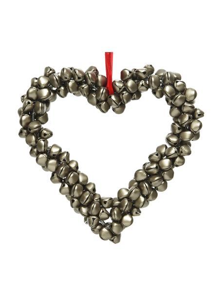 Deko-Herz Golden Heart H 15 cm, Metall, Grün, 15 x 15 cm