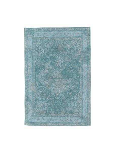 Vintage chenille vloerkleed Palermo in turquoise, Bovenzijde: 95% katoen, 5% polyester, Onderzijde: 100% katoen, Turquoise, lichtblauw, crèmekleurig, B 120 x L 180 cm (maat S)