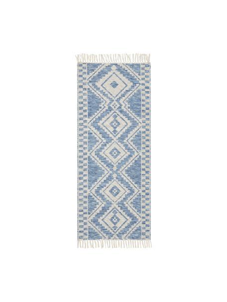Wollläufer Cindrella in Blau, 90% Wolle, 10% Baumwolle  Bei Wollteppichen können sich in den ersten Wochen der Nutzung Fasern lösen, dies reduziert sich durch den täglichen Gebrauch und die Flusenbildung geht zurück., Naturweiß, Blau, 80 x 200 cm