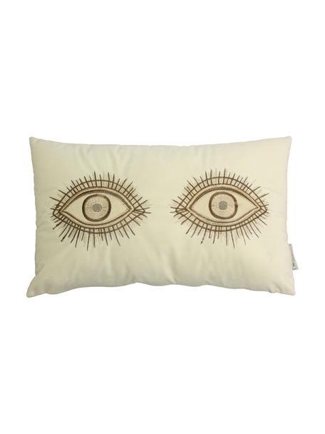 Cojín bordado de terciopelo Eyes, con relleno, 100%terciopelo, Marfil, marrón, An 30 x L 50 cm