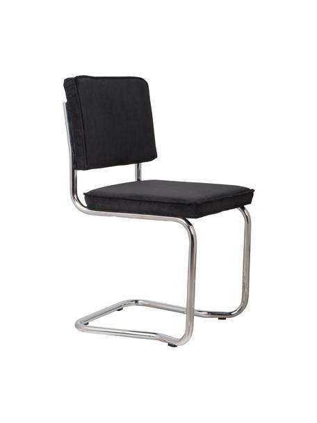 Krzesło podporowe Ridge Kink Chair, Tapicerka: aksamitny sztruks (88% ny, Nogi: tworzywo sztuczne, Tapicerka: czarny Stelaż: chrom, S 48 x G 48 cm