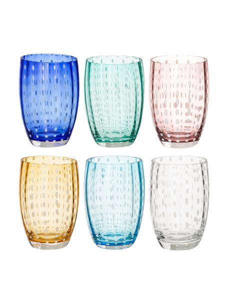 Mondgeblazen waterglazen Perle, 6 stuks, Glas, Transparant, wit, aqua, amberkleurig, pastelviolet, rood en groen, Ø 7 x H 11 cm