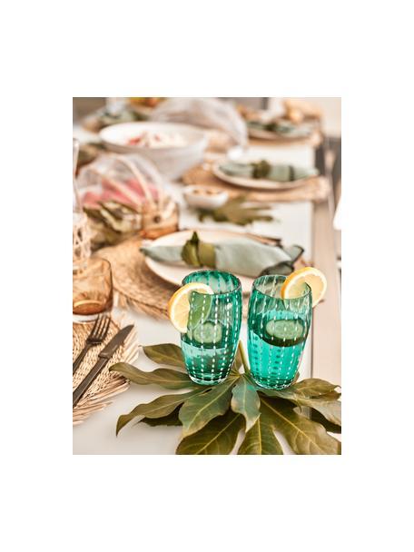 Mondgeblazen waterglazen Perle in kleur, 6-delig, Glas, Transparant, wit, aqua, amberkleurig, pastelviolet, rood en groen, Ø 7 x H 11 cm