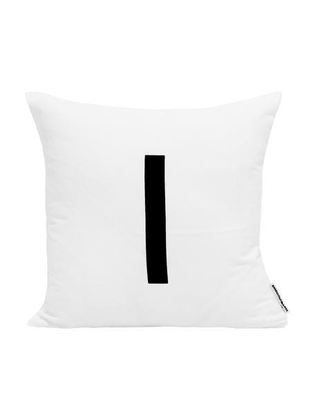 Funda de cojín Alphabet (variantes de A a Z), Poliéster, Negro, blanco, Variante I