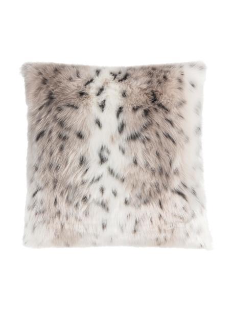 Federa in pelliccia sintetica Skins, Retro: poliestere, Fronte: beige, bianco, antracite Retro: avorio, Larg. 50 x Lung. 50 cm