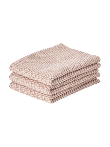 Ściereczka kuchenna z bawełny Lotha, 3 szt., 100% bawełna, Blady różowy, S 27 x D 27 cm