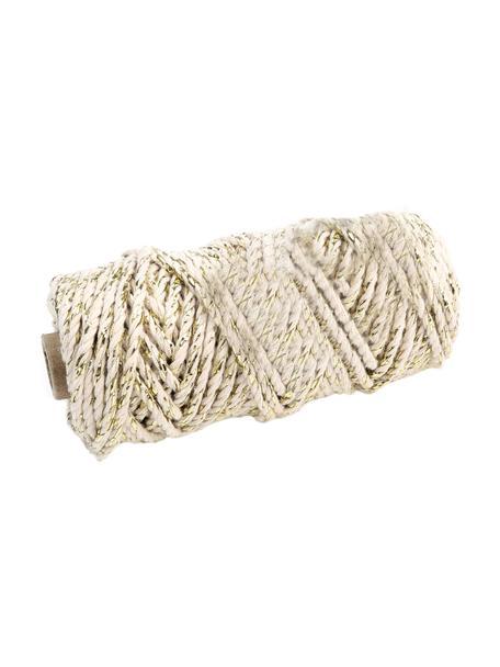 Cordón para regalos con hilos de lurex Twist, Algodón con hilo de lurex, Beige, dorado, L 25 m