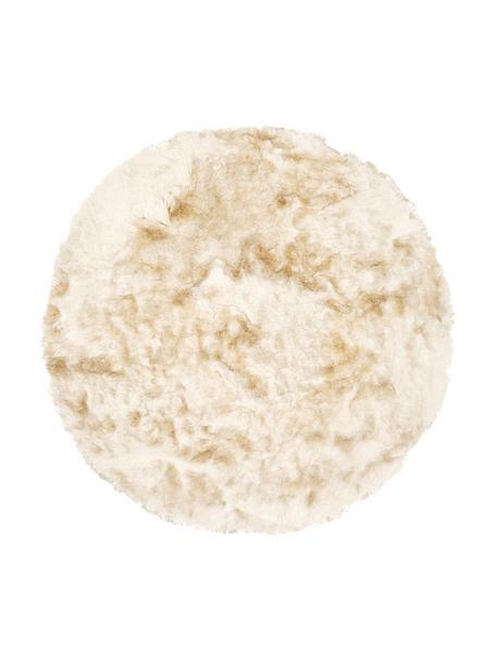 Glanzend hoogpolig vloerkleed Jimmy in ivoorkleur, rond, Bovenzijde: 100% polyester, Onderzijde: 100% katoen, Ivoorkleurig, Ø 120 cm (maat S)