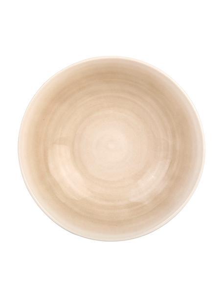 Handgemaakte saladeschaal Pure mat/glanzend met kleurverloop, Ø 26 cm, Keramiek, Beige, wit, Ø 26 x H 7 cm