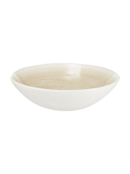 Ręcznie wykonana misa do sałatek Pure, Ceramika, Beżowy, biały, Ø 26 x W 7 cm